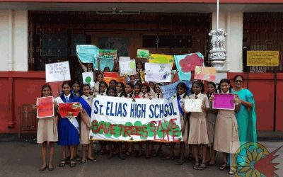 Students rally for awareness of tree plantation.