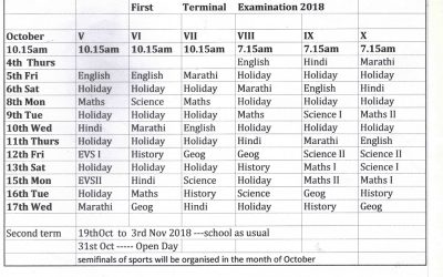 1st Term Exam. Time-table (Secondary)